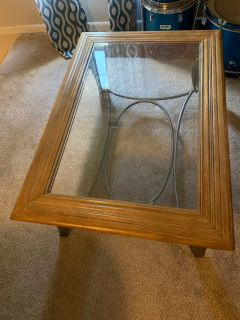 Solid Wood & Glass Top Coffee Table