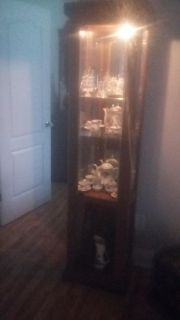 Lighted Curio Cabinet. Mirrored back, glass shelves. Some scratches and I took the door off the bottom because it had broke while moving.