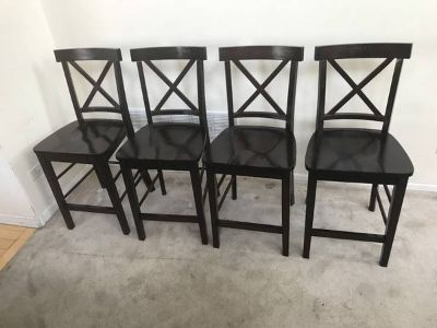 4 24 Brown Wooden Counter Height Chairs