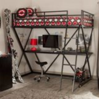 Bunk Bed frame with desk and mattress