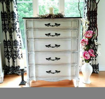 Lovely French provincial wood dresser, refinished in white and black, 37WX47HX19D""