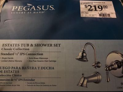 Pegasus Luxury Estate Tub and Shower set new in box.