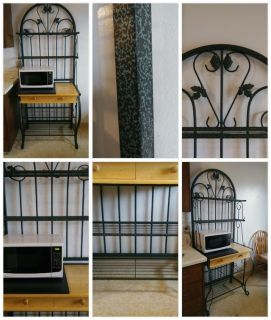 Wrought Iron Grapes & Leaf BAKERS RACK