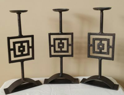 WROUGHT IRON, RUSTIC CANDLE HOLDERS