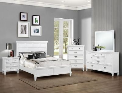 $1,250, RADIANT 7 PC White Queen Bedroom Suit