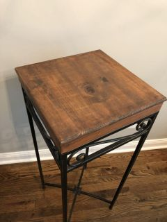 Tall metal and wood side table. $15.
