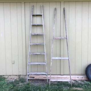 Front and back of old 8 foot ladder- well constructed and aged! Great for trellising, blanket ladder, etc! Selling together only pick up
