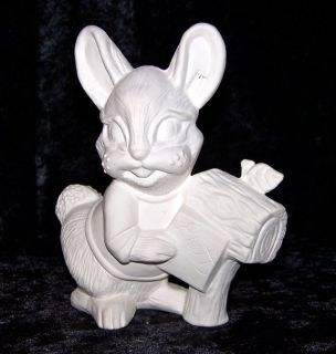 Vintage Unpainted Bisque Bunny Rabbit at Mailbox