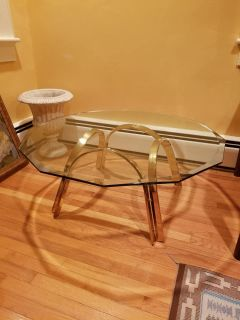 Beautiful Brass and Glass Coffee Table