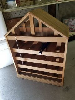 Wooden House Shaped Wine Rack #2345-2