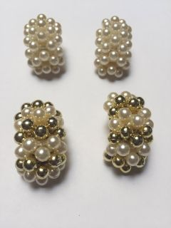 White/White & Gold Clip on Earrings