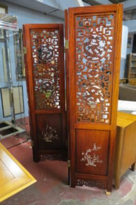 Vintage Antique style hand carved rosewood screen