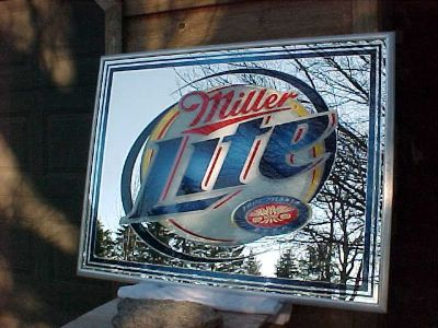 """MILLER LITE MIRRORED BEER SIGN 52"""" X 40"""" NEW OLD STOCK"""