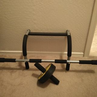 Pull-up bar and ab wheel