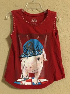 Justice Brand Red Pig With Peace Sign On Hat. Nice Condition. Bling! Size 6