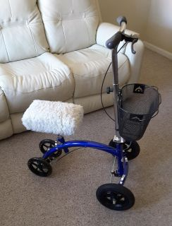 KneeRover Hybrid All-Terrain knee scooter w/basket and faux-sheepskin cover