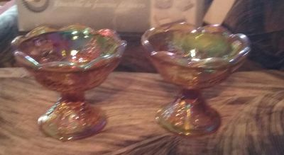 Carnival Glass Candle holders (set of two )