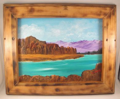Mountain Lake Landscape Acrylic Painting in Burned Wood Frame Wall Hanging 9x12