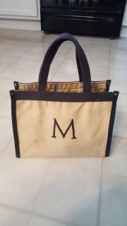 M personalized tote khaki and brown bag purse