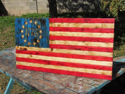 Patriotic Betsy Ross Rusic 1776 Wood Flag