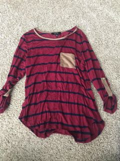 Maroon and navy top
