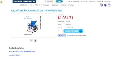 "Buy Aqua Creek Pool Access Chair, 18"" w/Mesh Seat"
