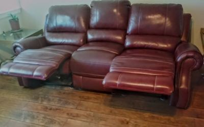 Red Leather Double Recliner Couch