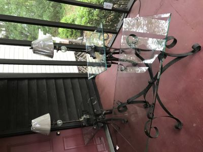 Wrought Iron Coffee Table, 2 End Tables w/ Lamps