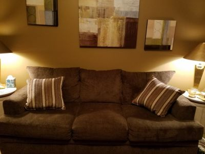 3 cushion couch with throw pillows