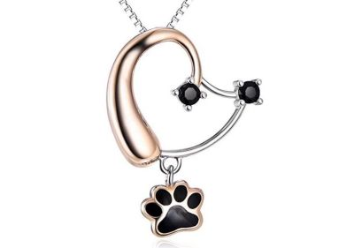 SILVER MOUNTAIN Sterling Silver Jewelry Forever Love Heart Puppy Paw Pendant Necklace
