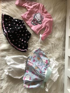 Two brand new with tags hello kitty 18 doll outfit and bitty baby outfit