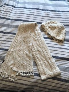 Abercrombie Ivory Scarf and Beanie Set
