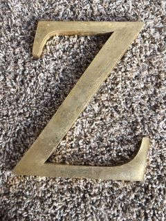 Gold Z wall hanging. 7 tall