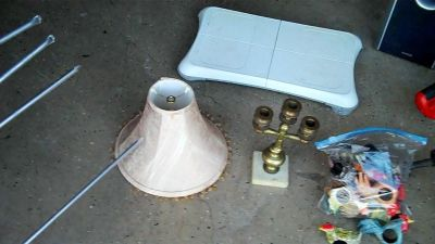 Lamp Shade and brass/marble candle holder