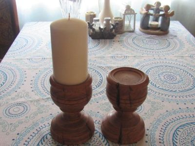 2 wood candle holders candle just for show