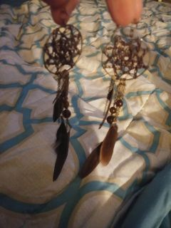 Beautiful feather and dream catcher earrings