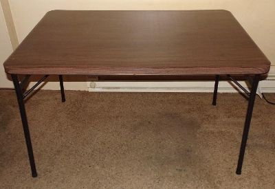"""Mainstays 48"""" Faux Wood Folding Table, Walnut - Used Once for a dinner"""