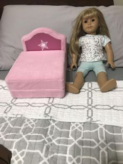AMERICAN GIRL DOLL WITH AMERICAN GIRL PINK SOFT LOUNGE CHAIR