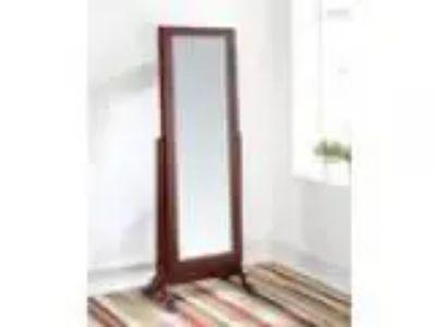 Remiro collection cherry finish wood free standing floor mirror
