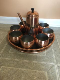 Vintage copper coffee and tea French handle copercraft set. Brand new