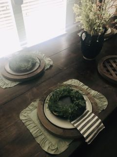 Antique Farmhouse Wooden lattice chargers, I will sell in sets of two for only $45!