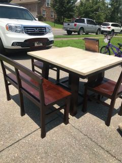 Kitchen table- solid wood 3 chairs with bench