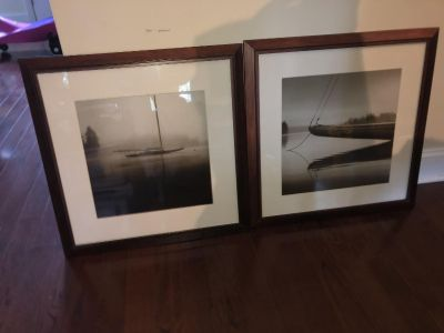 2 boat scene framed pictures from pier one
