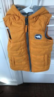 Adorable thermal and fleece vest with hood - 18 mo