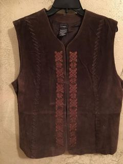 Outbrook 100%leather vest, eye/hook closures, great condition, non smoking home, pro leather cleaners only,XL