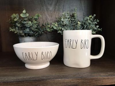 Rae Dunn EARLY BIRD Coffee Mug & Bowl Set, Margarita & Date St, Murrieta