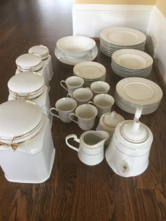 Total of 47 Pieces; 43 Piece China Dinner Set For 8 and 4 Ceramic Canisters