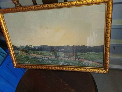 German Lithograph? Antique or vintage? framed