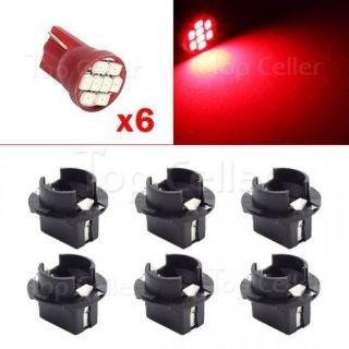 Purchase 6x T10 PC194 Twist Lock Wedge Instrument Panel Light Bulb Socket Red For BMW motorcycle in Milpitas, California, United States