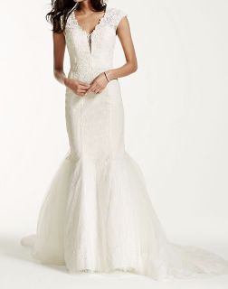 NEW Wedding Gown sz 12 6 8 Galina Signature SWG681 White Ivory Trumpet Bride Bead Sequin Lace